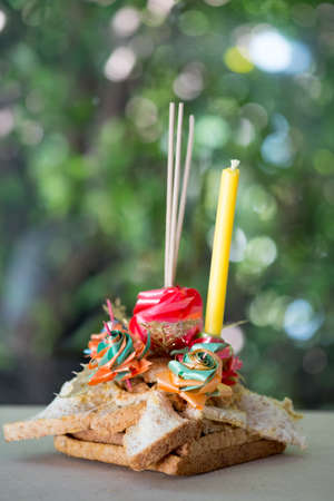 Beautiful Krathong for Loy Krathong Festival in Thailand. Krathong make from bread for easy to decompose