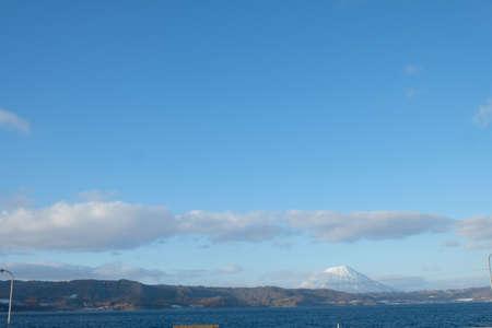 View of Toya Lake (Toyako) with snow. the famous tourist attraction of Hokkaido.