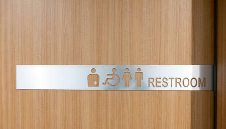 Public toilet sign. Woman, men,and disabled person toilet icon