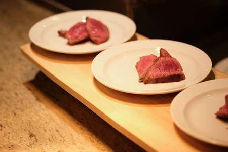 Premium grilled beef steak in the hotel restaurant