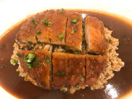 Curry rice with fried chicken. Close up Banco de Imagens