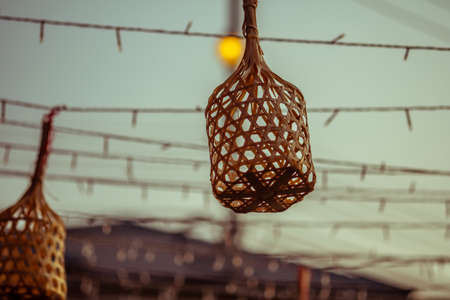 Mini wicker hanging for decoration in party. Thai style