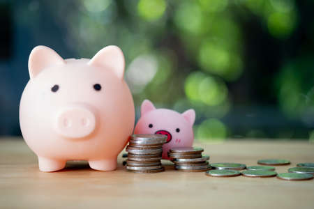 Piggy bank with baby pig and stacked coins on wooden table. Concept of kid with money saving for the future.