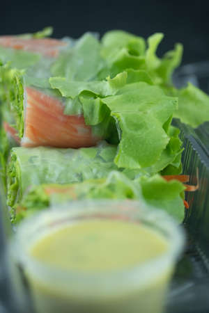 Salad roll vegetables wrapped in flour with salad dressing on clear plastic box Imagens