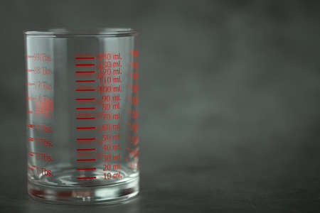 Empty of a measuring glass on a black background