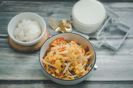 Thailand called Tum-Thai-Khao-Phod : Papaya salad with corn delicious food in Thailand