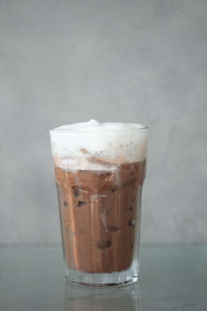 Iced mocha coffee with milk in glass