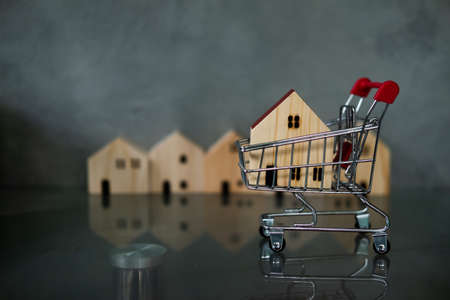 Wood house in small shopping cart. Concept of shop new house promotion accommodation mortgage and loans concept
