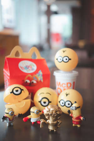 Samut Prakan, Thailand - July 7, 2020 : Happy Meal Collection new promotions set of cute Minion toy from Mcdonald fast food restaurant