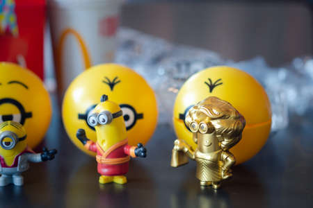 Samut Prakan, Thailand - July 11, 2020 : New promotions set of Minion toy and rare itam gold colour from Mcdonald fast food restaurant Redakční