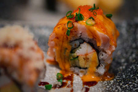 Spicy Salmon Maki Sushi (Salmon Roll). Selective focus