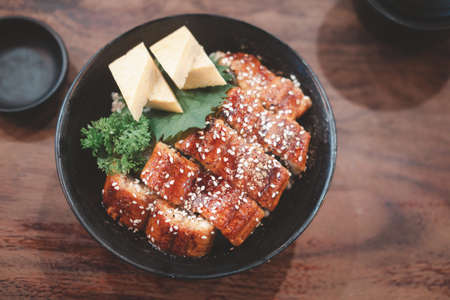 Japanese eel grilled with rice or Unagi don set on bowl in Japanese style. Selective focus 免版税图像