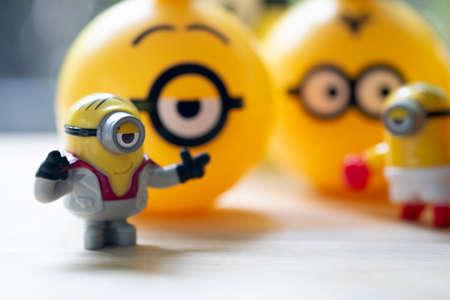 Samut Prakan, Thailand - August 16, 2020 : Happy Meal set of new cute minion capsules
