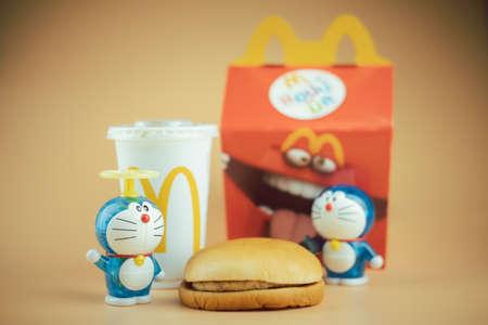 Samut Prakan, Thailand - August 23, 2020 : Happy Meal 50th Years of Doraemon. Doraemon character (Pressure Bellow! Air Cannon). Promotion from McDonald's restaurant Redakční