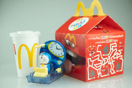 Samut Prakan, Thailand - September 14, 2020 : Toy plastic toy sold of the McDonald's Happy meals. Doraemon a blue robot cat (character of gears swirl! Time Machine). Doraemon is celebrating it's 50th Anniversary