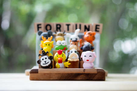 Cute of animal in the Chinese zodiac. Concept of fortune