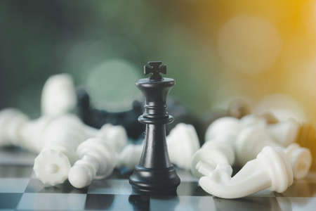 Black chess king surrounded by a number of fallen chess pieces. Business strategy concept