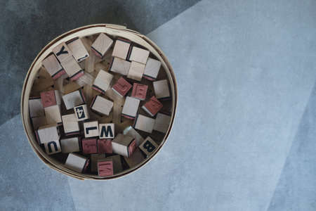Stock of block wood letters and number for learning