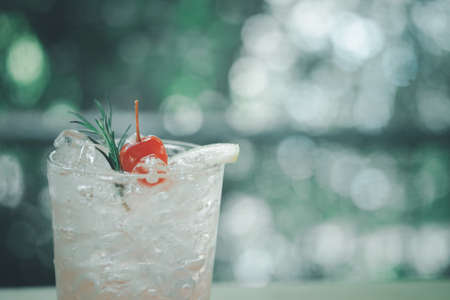 Pink cocktail with lychee syrup and sparkling soda decoration with rosemary cherries and slice lemon. Concept of homemade refreshment
