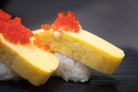 Tamago Sushi with mayonnaise topping and salmon roe. Tasty healthy food