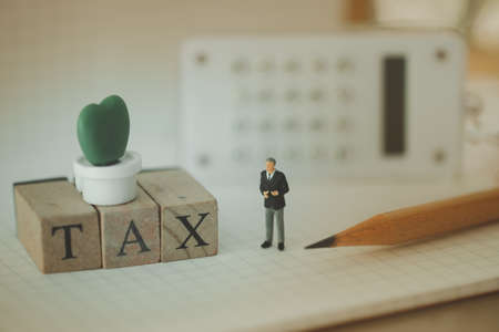 Miniature people with word TAX made with wood building blocks. Pay annual income TAX for the year on calendar. using as background business concept and finance concept
