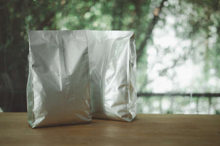Front view of bag for tea, coffee and grain packaging. Retail shopping and advertising concept.