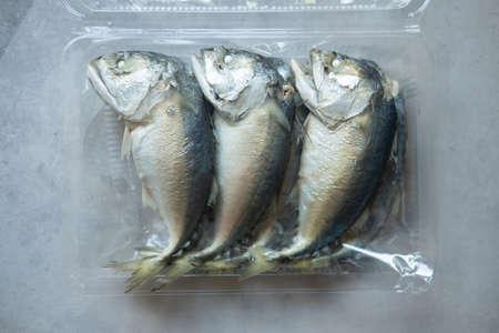 Fresh mackerel in a box sold at a fresh market in Thailand.
