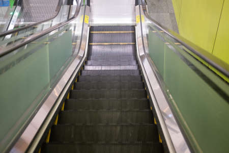 Modern escalator electronic system. High angle view