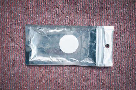 Slim blank foil plastic pouch. Top view