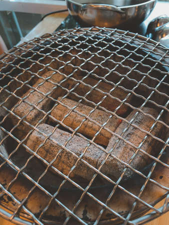 Close up of coal burning in barbecue