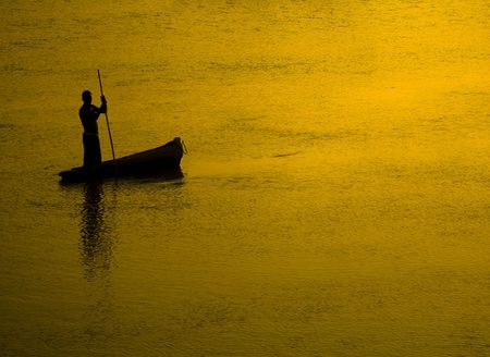 poling: Fisherman at Sunset