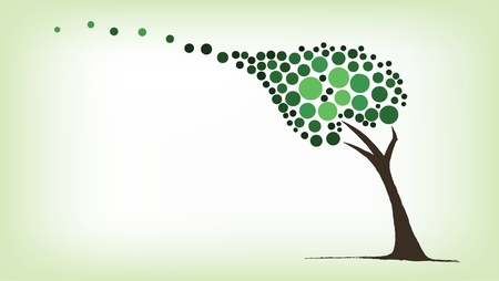 Green tree blowing in the wind Vector