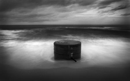 yorkshire and humber: Rough Waves Crashing against Pillar