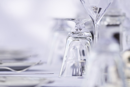 holiday catering: glasses and cutlery in a Elegant luxury restaurant setting Stock Photo