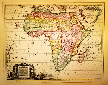 africa antique: Ancient vintage map depicting Africa in the 19th century