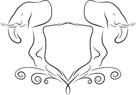 illustration line art: Vector line art illustration of an African elephant emblem
