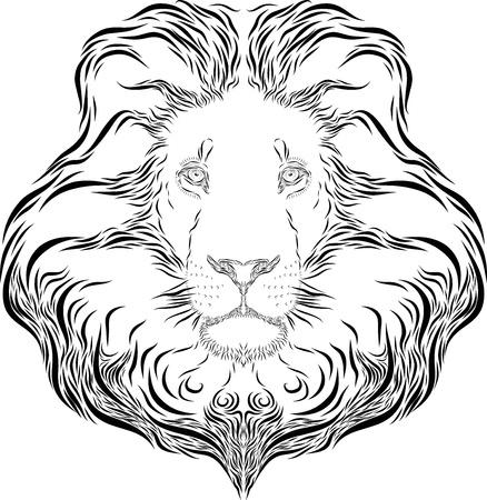 Vector line art illustration of a lion head Stock Illustration - 21655841