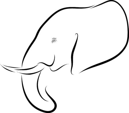elephant icon: Vector line art illustration of an African elephant