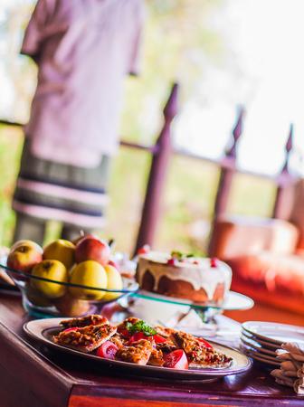 Pizza buffet in een openlucht restaurant Stockfoto