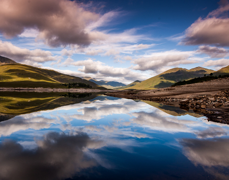 Beautiful landscape reflections on a lake in scotland