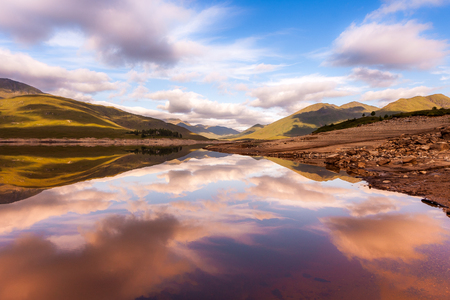 highland: Beautiful Scottish Lake with reflections Stock Photo