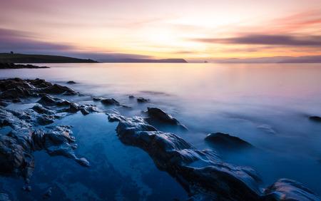 Lange landschap Blootstelling van een Cornwall Beach Stockfoto