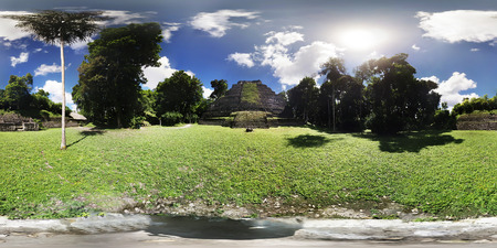 Mayan Pyramid in 360 Virtual Reality Stock Photo