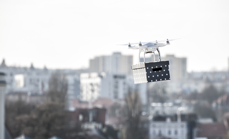 Concept of modern fast delivery method by using drones and other aerial crafts for avoiding traffic