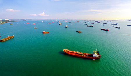 Singapore Ship traffic - anchorage on approach Stock Photo
