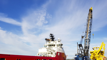 modern norwegian ships arriving to port for loading new supplies, provision and bunkers
