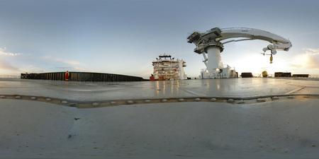 360 VR Rozejrzyj się po sferycznym widoku nowoczesnego podwodnego statku wsparcia konstrukcji rov Zdjęcie Seryjne