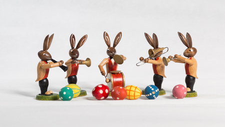 Easter Bunnies Big band with instruments and Easter eggs make music