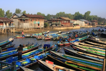 Boats waiting for tourists, Nyaung Shwe, Inle lake, Shan state, Myanmar, Southeast Asia Stock Photo - 14582067