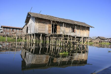 Traditional wooden stilt houses, Inle lake, Shan state, Myanmar, Southeast Asia Stock Photo - 14582060
